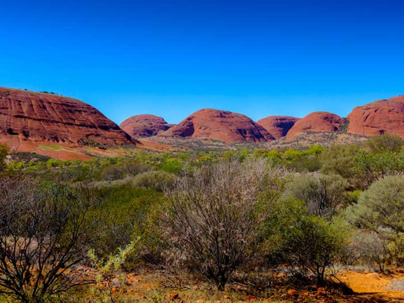 Vue mont Olgas Uluru Australie